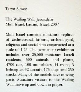 Taryn Simon, The Wailing Wall, Jerusalem Minu Israel, Latrum, Istrael, 2007 (didascalia dell'opera).