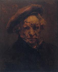 Rembrandt, autoritratto con berretto, circa 1959