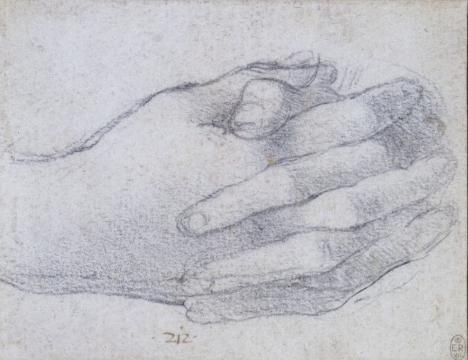 Leonardo, Study of clasped hands, seen so that the back of the right hand, National Gallery, 2011