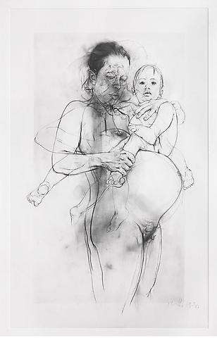 Jenny Saville, Reproduction drawing II (after the Leonardo cartoon), 2009-2010