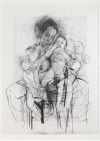 Jenny Saville, Reproduction drawing I (after the Leonardo cartoon), 2009-2010