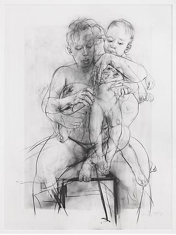 Jenny Saville, Reproduction drawing III (after the Leonardo cartoon), 2009-2010