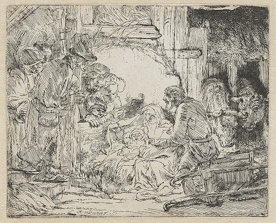 Rembrandt, Adorazione dei pastori: con lampada, 1654 circa.