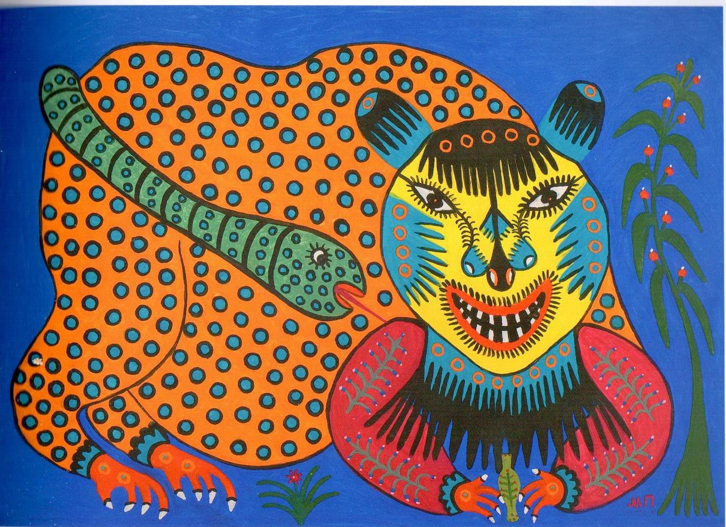 Maria Primachenko, While This Beast Drinks Poison, a Snake Sucks His Blood, 1982